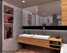 rigged modern bathroom 3dmodel