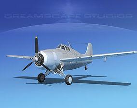 Grumman F4F-3 Wildcat Bare Metal 3D model