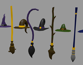 Halloween Pack - magic brooms and hats 3D asset