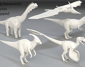 Dinosaur-5 peaces-low poly-part 6 3D asset game-ready