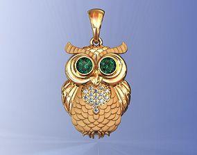 Owl Pendant with Diamonds 3D print model