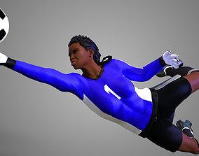African Football Soccer GoalKeeper Female 3D