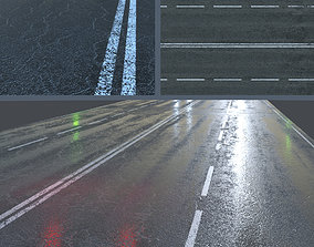 3D model Wet asphalt