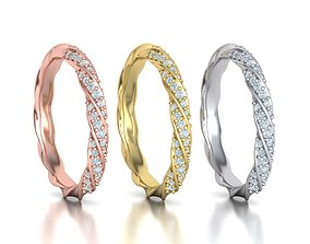 Diamond Band ring Spiral design match 3D printable model 1