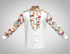 3D MENs Formal Shirt With Floral Sleeve Caller And 1