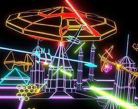 3D asset LOW-poly Neon invasion battle set