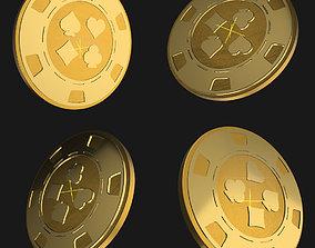 3D Casino Poker Chip - gold coin