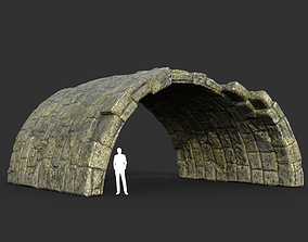 Low poly Mossy Ruin Medieval Construction 15 3D model