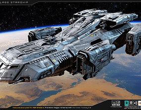 3D model PBR Antares Class - Starship