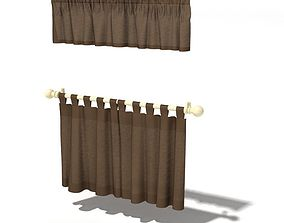 Brown Curtains With Curtain Rod 3D model