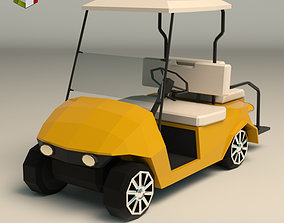 Low Poly Golf Cart 3D asset game-ready
