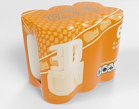 3D model 6 Pack 330ml Sleek shrinkwrapped beverage cans