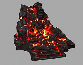 3D model lava budha rock