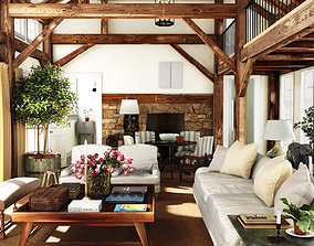 cozy rustic countryside living room big wood house 3D 1