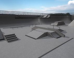 3D model Lowpoly Modular Skatepark