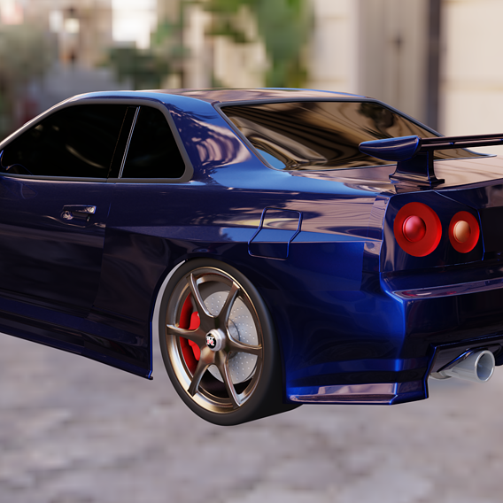 Nissan GTR r34 Blue And Red