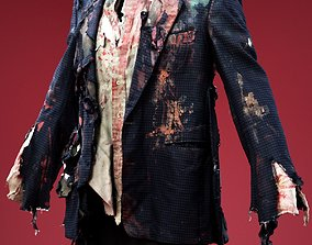 3D asset Rip Shirt Bloody Vest Cosplay Outfit