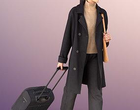 11305 Francine Asian woman black coat trolley 3D model 1