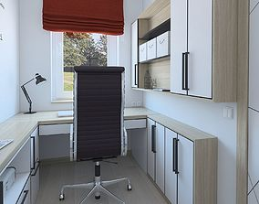 Small work room with red romance 3D model
