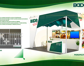 3D asset Booth Bade Chemical design size 6 X 5 m 30 sqm