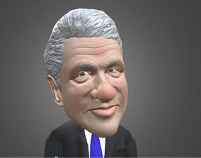 3D model Bill Clinton caricature low poly rigged