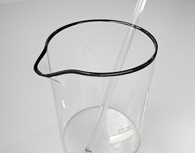 3D model 150 ml Glass Beaker with Rod