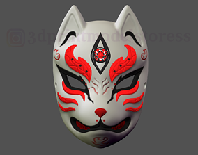 Japanese Fox Mask Demon Kitsune Cosplay 3D print model 1
