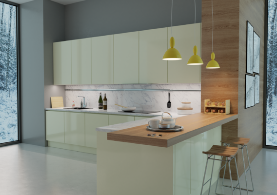 3D visualization of kitchen furniture.