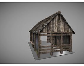 3D model low poly medieval house 2
