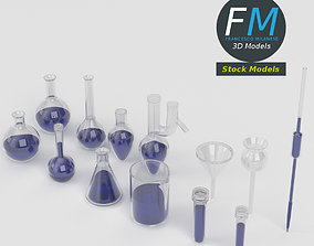 Laboratory glassware set 3D
