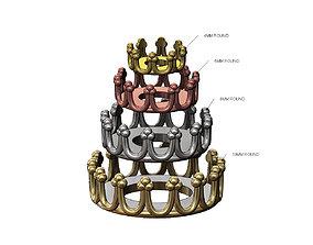 Round Princess Crown Bezel Cup 3D printable model 2