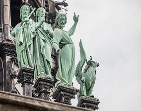 12 statues of saints Notre Dame 3D