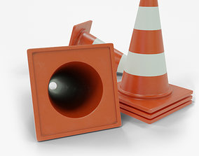 3D asset Traffic Cone High and Low Poly Gameready for