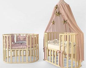 3D model Oval crib Letto Bambini Elegante ivory