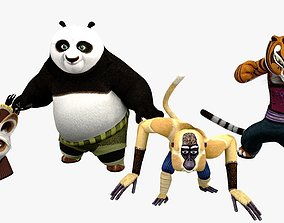 3D model VR / AR ready Kungfu Panda