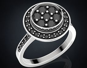 Ring with stones in different metals 3D printable model 2