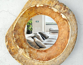 3D Baga Old Wood Bowl Mirror