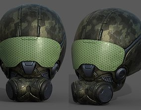 Helmet scifi combat military fantasy low poly 3D asset