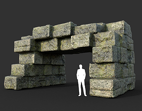 Low poly Mossy Ruin Medieval Construction 08 3D model