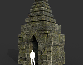 Low poly Mossy Mossy Ruin Asia Temple 08 3D model
