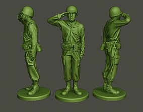 3D print model American soldier ww2 saluting A4