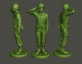 American soldier ww2 saluting A4 3D printable model