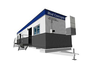3D model Construction Site Trailer On Running Steel 4