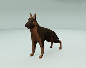 3D asset game-ready Low Poly German Shepherd Dog