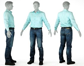 Male Casual Outfit 24 Green shirt Pants Shoes 3D model