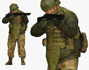 3D model modern soldier aiming with pumpshotgun 001150