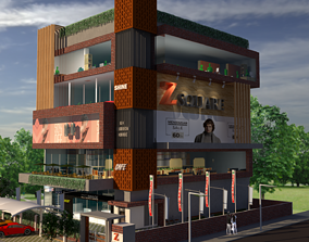 Commercial Building Elevation 3D model low-poly