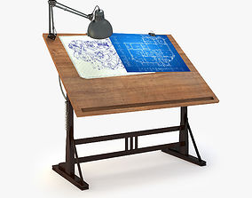 3D Blueprint Desk with Lamp
