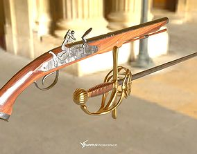 Flintlock Pistol and Rapier Sword 3D asset