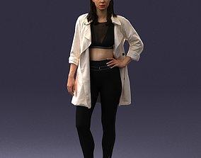3D model Fashionable girl in white raincoat 0427